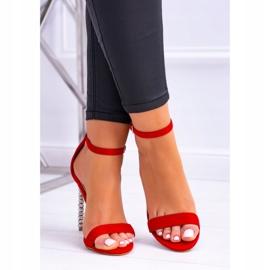 BUGO Damskie Sandały Na Szpilce Zdobionej Cyrkoniami Elida czerwone 4
