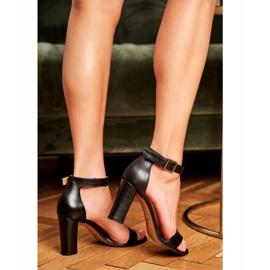 Sandały Na Słupku Laura Messi 1760 Skóra Licowa Czarne Iliady 1