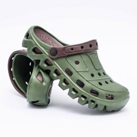 Flameshoes Zielone Męskie Ogrodowe Lekkie Klapki Kroksy Eva 7