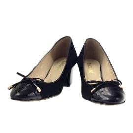 Czółenka z kokardą buty damskie Sagan 2275 czarne 4