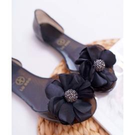 Lu Boo   Gumowe Balerinki Meliski Kwiatki Czarne Candela 5
