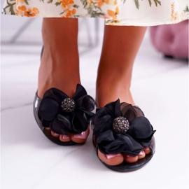 Lu Boo   Gumowe Balerinki Meliski Kwiatki Czarne Candela 2