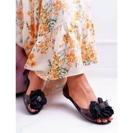 Lu Boo   Gumowe Balerinki Meliski Kwiatki Czarne Candela 4