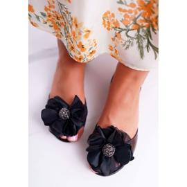 Lu Boo   Gumowe Balerinki Meliski Kwiatki Czarne Candela 3