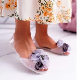 Lu Boo | Gumowe Balerinki Meliski Kwiatki Białe Candela 1