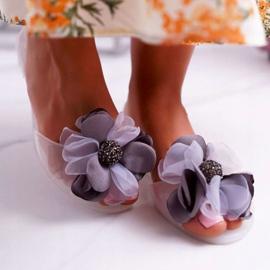 Lu Boo | Gumowe Balerinki Meliski Kwiatki Białe Candela 2