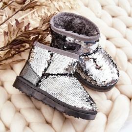 Dziecięce Młodzieżowe Ocieplane Srebrne Śniegowce Cekiny Shard czarne szare 5