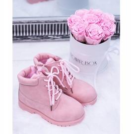 FRROCK Dziecięce Ocieplane Trapery Botki Pudrowy Róż Dexter różowe 10