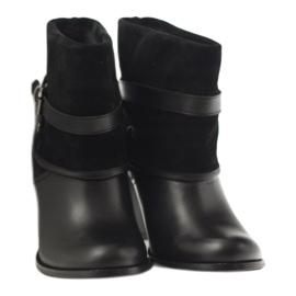 Czarne klasyczne buty damskie botki zimowe Edeo 1754 4