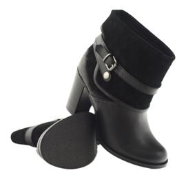Czarne klasyczne buty damskie botki zimowe Edeo 1754 3