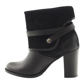 Czarne klasyczne buty damskie botki zimowe Edeo 1754 2