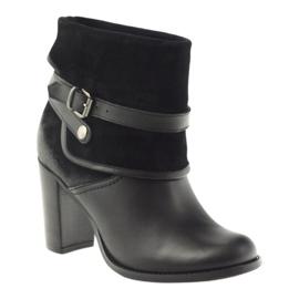 Czarne klasyczne buty damskie botki zimowe Edeo 1754 1
