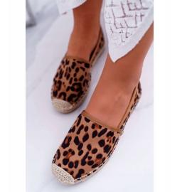 NFR Espadryle Damskie Wsuwane Zamszowe Leopard Jungle brązowe 4