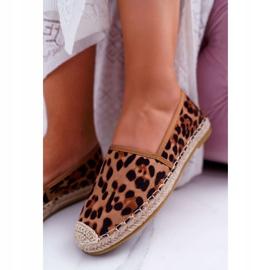 NFR Espadryle Damskie Wsuwane Zamszowe Leopard Jungle brązowe 5