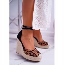 FB2 Sandały Damskie Na Koturnie Lniane Leopard Canterola brązowe czarne 1