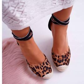 FB2 Sandały Damskie Na Koturnie Lniane Leopard Canterola brązowe czarne 5