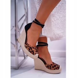 FB2 Sandały Damskie Na Koturnie Lniane Leopard Canterola brązowe czarne 3