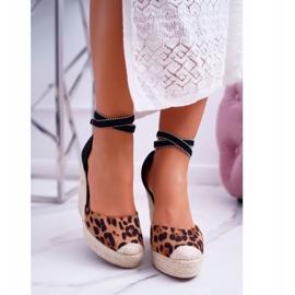 FB2 Sandały Damskie Na Koturnie Lniane Leopard Canterola brązowe czarne 2