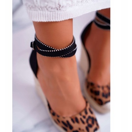 FB2 Sandały Damskie Na Koturnie Lniane Leopard Canterola brązowe czarne 4