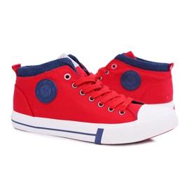 Trampki Męskie Cross Jeans Wysokie Materiałowe Czerwone DD1R4059 6