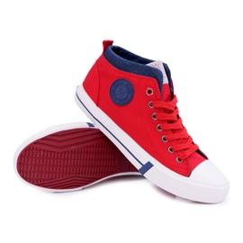 Trampki Męskie Cross Jeans Wysokie Materiałowe Czerwone DD1R4059 3