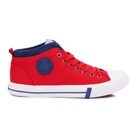 Trampki Męskie Cross Jeans Wysokie Materiałowe Czerwone DD1R4059 1