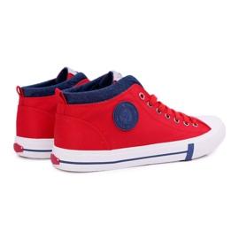 Trampki Męskie Cross Jeans Wysokie Materiałowe Czerwone DD1R4059 2