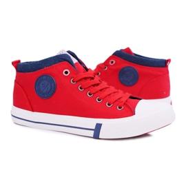Trampki Męskie Cross Jeans Wysokie Materiałowe Czerwone DD1R4059 4