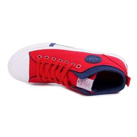 Trampki Męskie Cross Jeans Wysokie Materiałowe Czerwone DD1R4059 5
