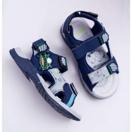 FRROCK Dziecięce Młodzieżowe Chłopięce Sandały Na Rzepy Granatowe Reksio 2