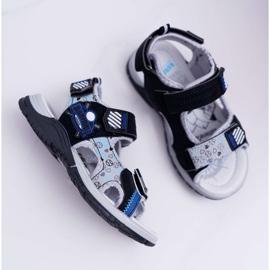 FRROCK Dziecięce Młodzieżowe Chłopięce Sandały Na Rzepy Czarne Reksio 2