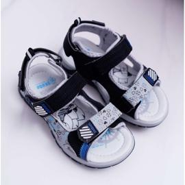FRROCK Dziecięce Młodzieżowe Chłopięce Sandały Na Rzepy Czarne Reksio 1