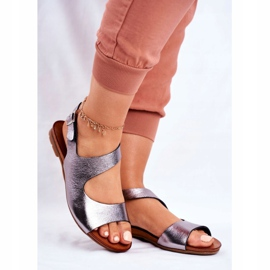 Damskie Sandały Laura Messi 1116 Skórzane Metaliczne Vollare wielokolorowe szare 1