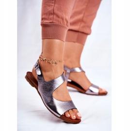 Damskie Sandały Laura Messi 1116 Skórzane Metaliczne Vollare wielokolorowe szare 3
