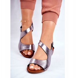Damskie Sandały Laura Messi 1116 Skórzane Metaliczne Vollare wielokolorowe szare 2