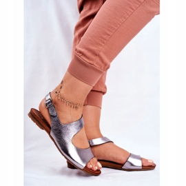 Damskie Sandały Laura Messi 1116 Skórzane Metaliczne Vollare wielokolorowe szare 4