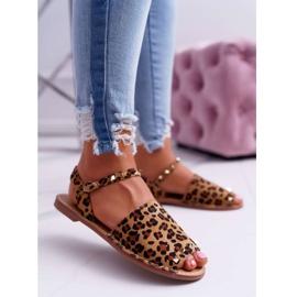Damskie Sandały Lu Boo Zamszowe Leopard Silena brązowe 1