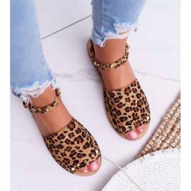 Damskie Sandały Lu Boo Zamszowe Leopard Silena brązowe 4