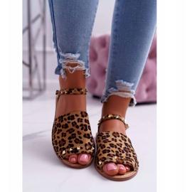 Damskie Sandały Lu Boo Zamszowe Leopard Silena brązowe 2