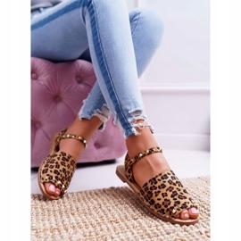 Damskie Sandały Lu Boo Zamszowe Leopard Silena brązowe 5