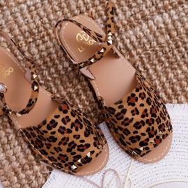 Damskie Sandały Lu Boo Zamszowe Leopard Silena brązowe 6