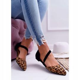 Lu Boo Baleriny W Szpic Zamsz Leopard Carana brązowe czarne 4