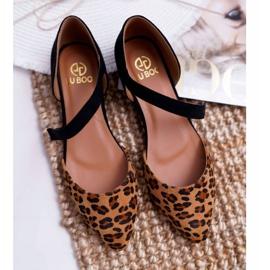 Lu Boo Baleriny W Szpic Zamsz Leopard Carana brązowe czarne 6