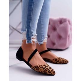 Lu Boo Baleriny W Szpic Zamsz Leopard Carana brązowe czarne 1