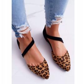 Lu Boo Baleriny W Szpic Zamsz Leopard Carana brązowe czarne 3