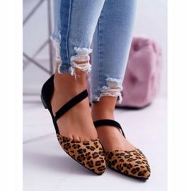 Lu Boo Baleriny W Szpic Zamsz Leopard Carana brązowe czarne 2