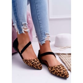 Lu Boo Baleriny W Szpic Zamsz Leopard Carana brązowe czarne 5