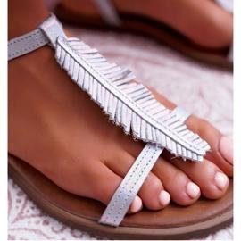 Sandały Damskie Płaskie Skórzane Srebrne Nicole 2383 szare 5