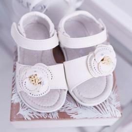 EVE Dziecięce Sandały Na Rzepy Dla Dziewczynki Białe Flamenko 5