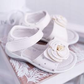 EVE Dziecięce Sandały Na Rzepy Dla Dziewczynki Białe Flamenko 2